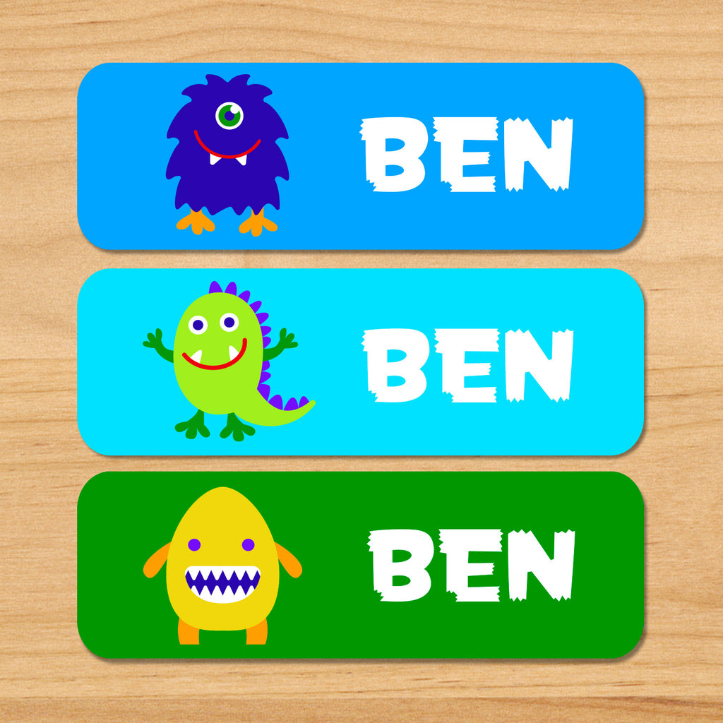Monsters personalized kids name labels with green, blue and yellow monsters