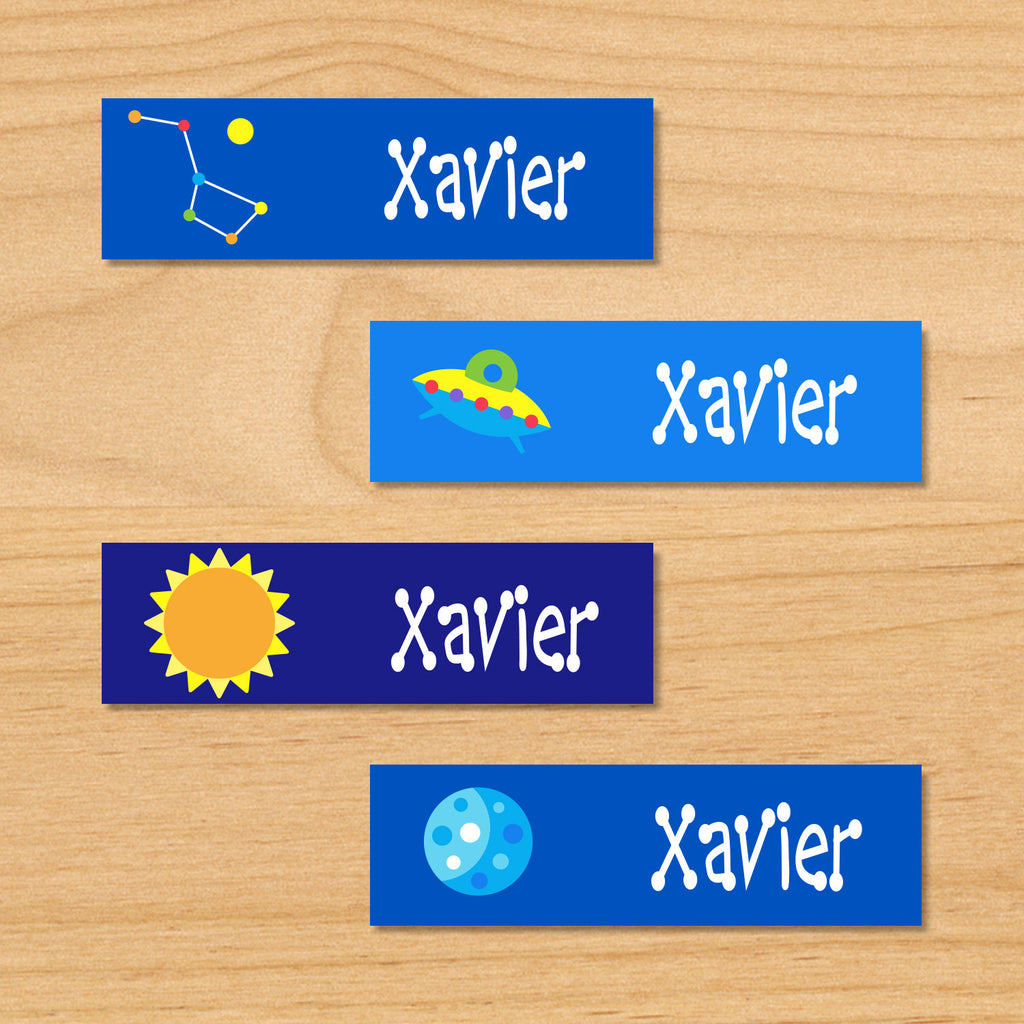Out of this world space kids personalized mini waterproof name labels with constellation, UFO, sun and planet on blue space background