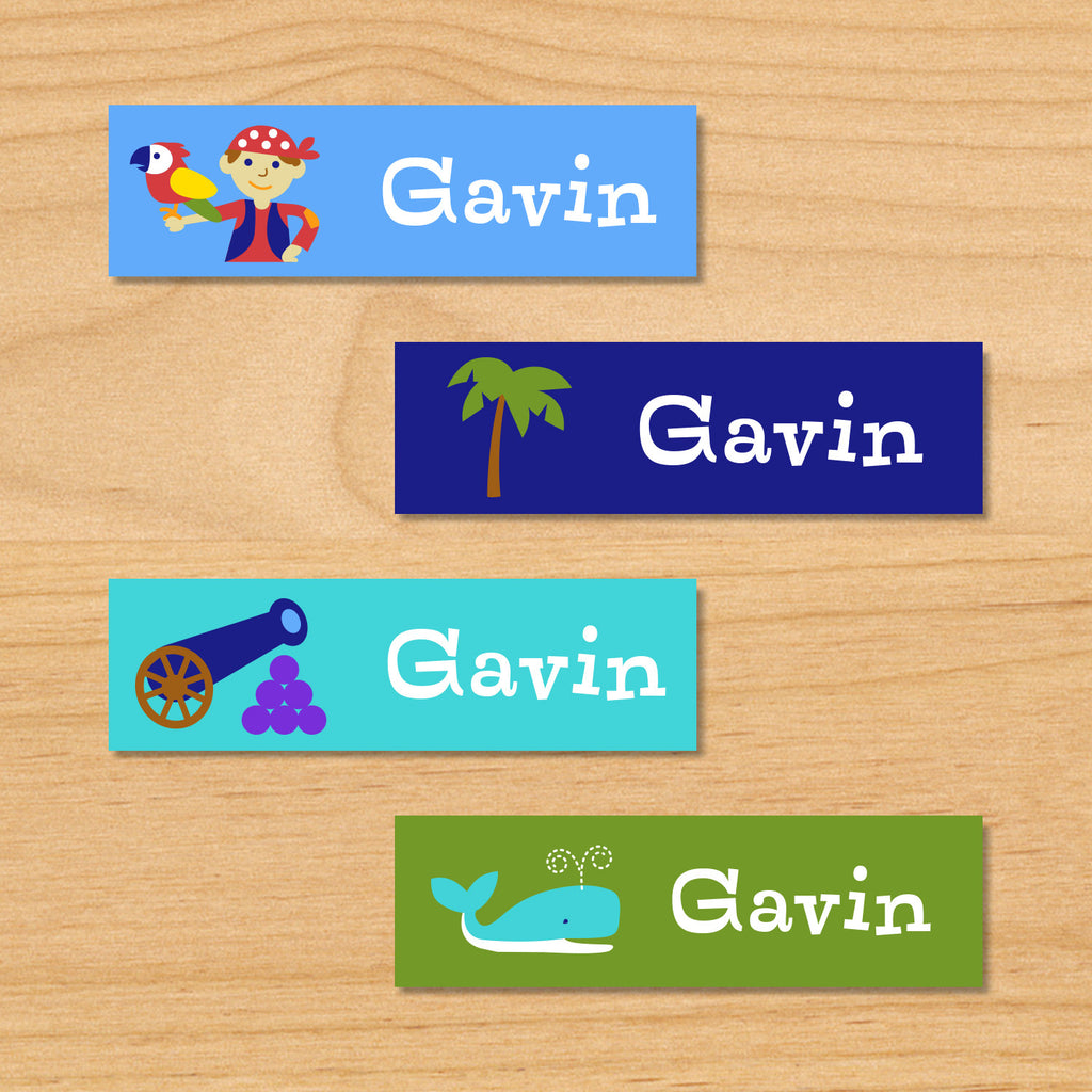 Pirates personalized kids name mini waterproof labels with little pirate, palm tree, cannon, and whale on blue and green ocean beach background