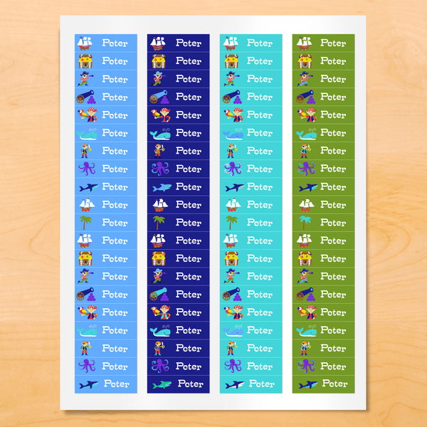 Personalized kids Pirate themed mini labels with pirate ship, treasure chest and nautical images on blue and green backgrounds