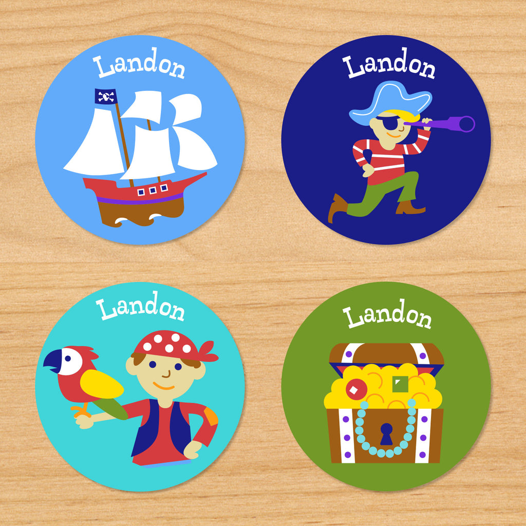 Pirates personalized kids boys name round waterproof labels with little pirate, treasure chest, pirateship and parrot on blue and green ocean beach background