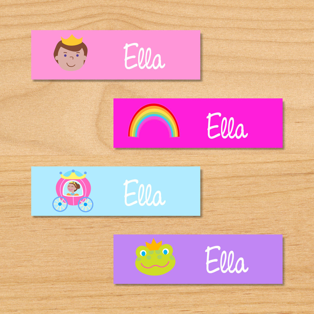Princess dark skin kids mini personalized name waterproof labels with prince, rainbow, princess in pink coach, and frog on pink, blue and purple backgrounds