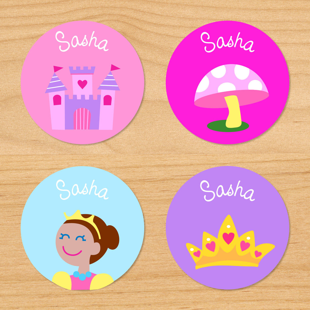 Princess dark skin kids girls round personalized name waterproof labels with princess, castle, toadstool and crown on pink, blue and purple backgrounds