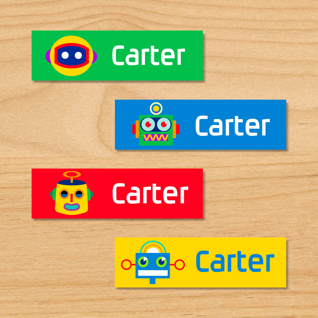 Robots personalized kids mini waterproof labels with colorful robots on green, blue, yellow and red backgrounds