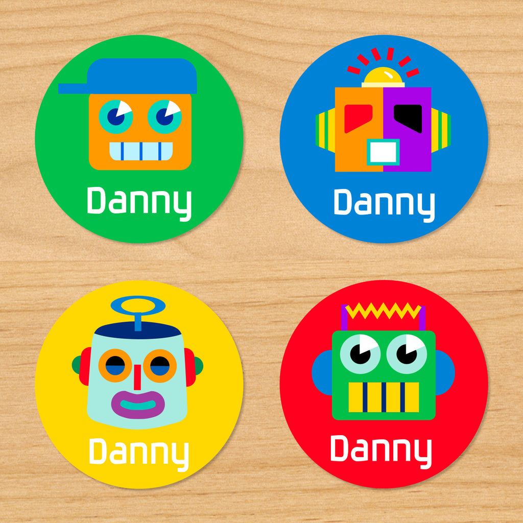 Robots personalized kids boys round waterproof labels with colorful robots on green, blue, yellow and red backgrounds