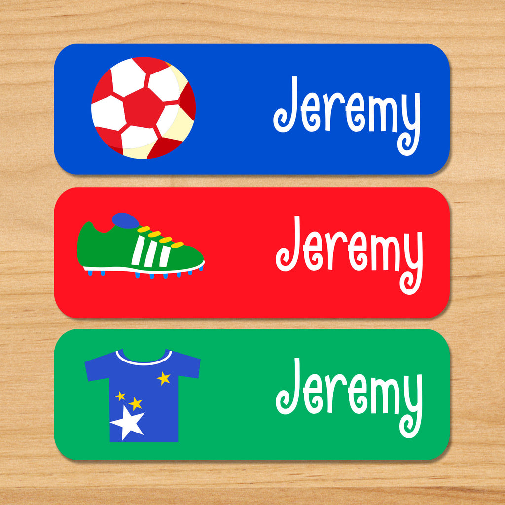 Boys soccer kids waterproof labels personalized with soccer ball, cleats, and jersey on blue, red and green backgrounds
