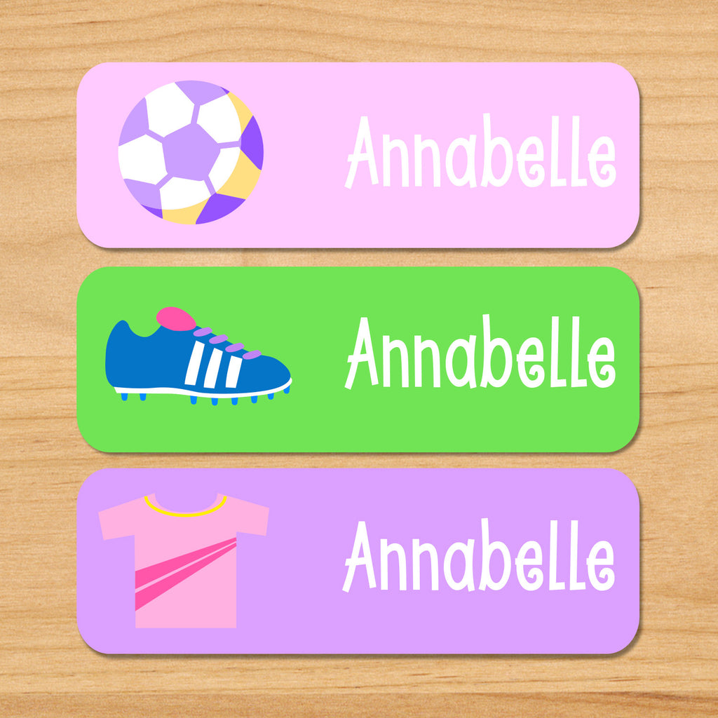 Girls soccer kids waterproof labels personalized with soccer ball, cleats, and jersey on pink, purple and green backgrounds