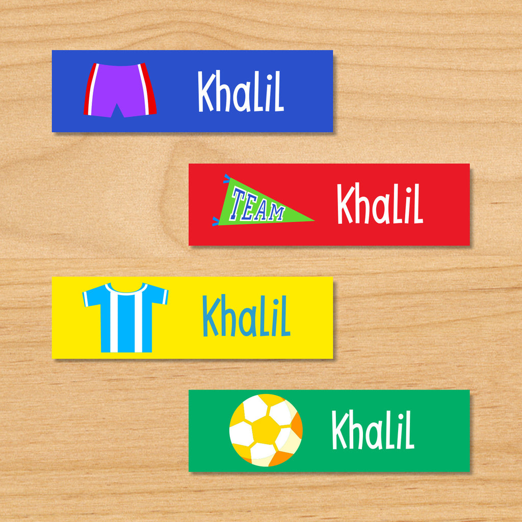 Soccer boys personalized kids mini waterproof labels with soccer shorts, pennant, soccer jersey, and soccer ball on blue, red, yellow and green backgrounds