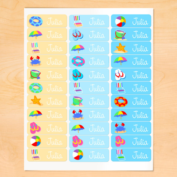 Summertime Personalized Rectangle Kids Waterproof Labels