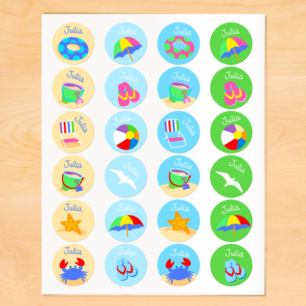 Summertime Personalized Round Kids Waterproof Labels