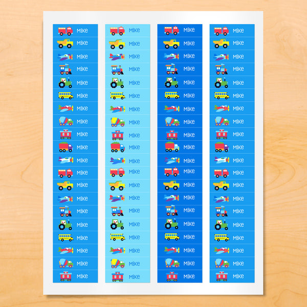 Personalized kids vehicle themed mini labels with trucks, trains and vehicles on blue backgrounds.