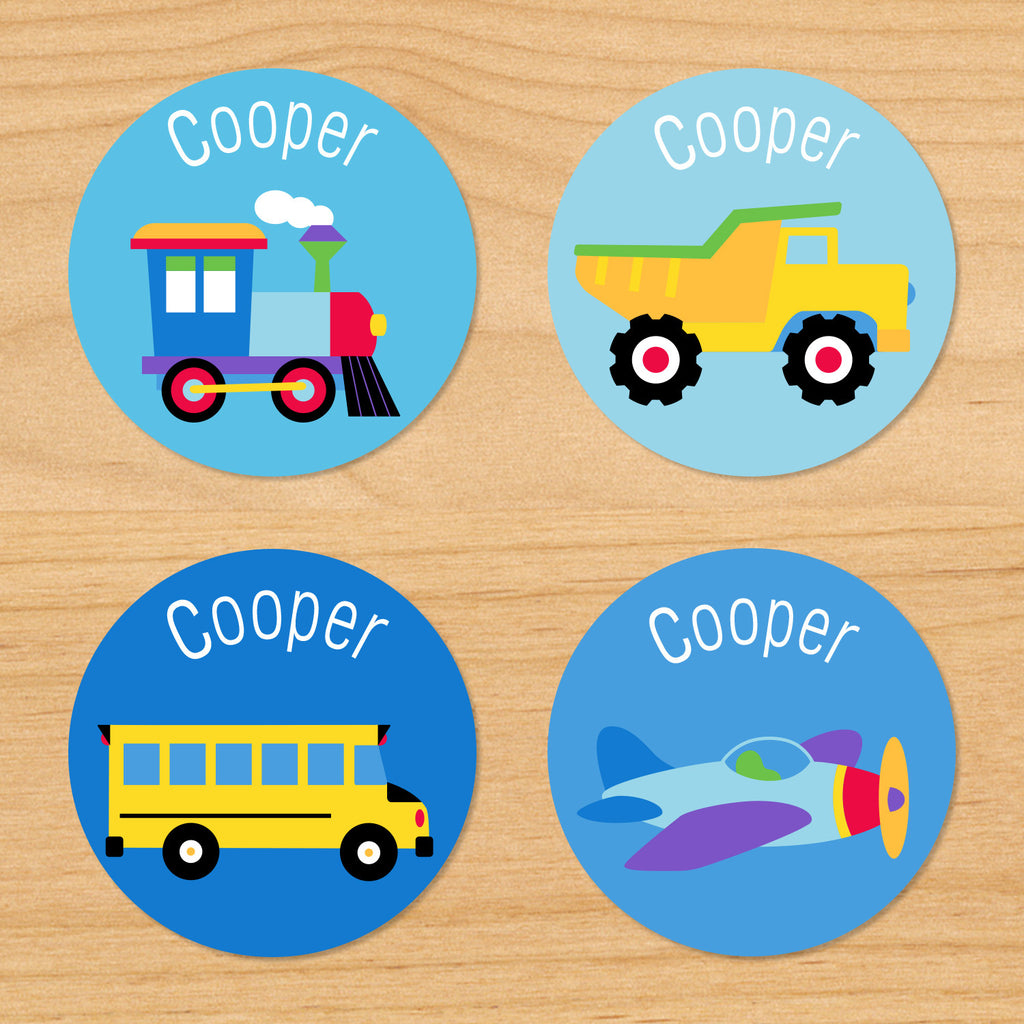 Trains, planes and trucks personalized kids boys round waterproof name labels with train, dumptruck, schoolbus, and airplane on a blue background