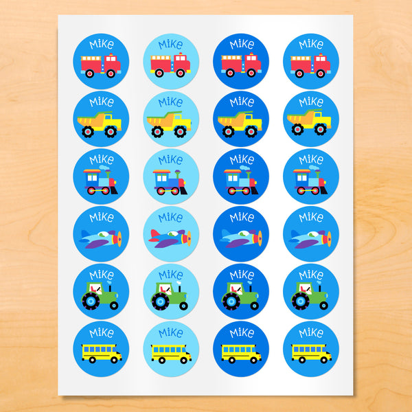 Personalized kids round vehicle themed labels with trucks, trains and vehicles on blue backgrounds.
