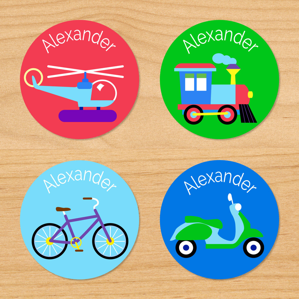 Transportation personalized kids boys round waterproof name label with helicopter, vespa, train, and bicycle on red, green and blue background