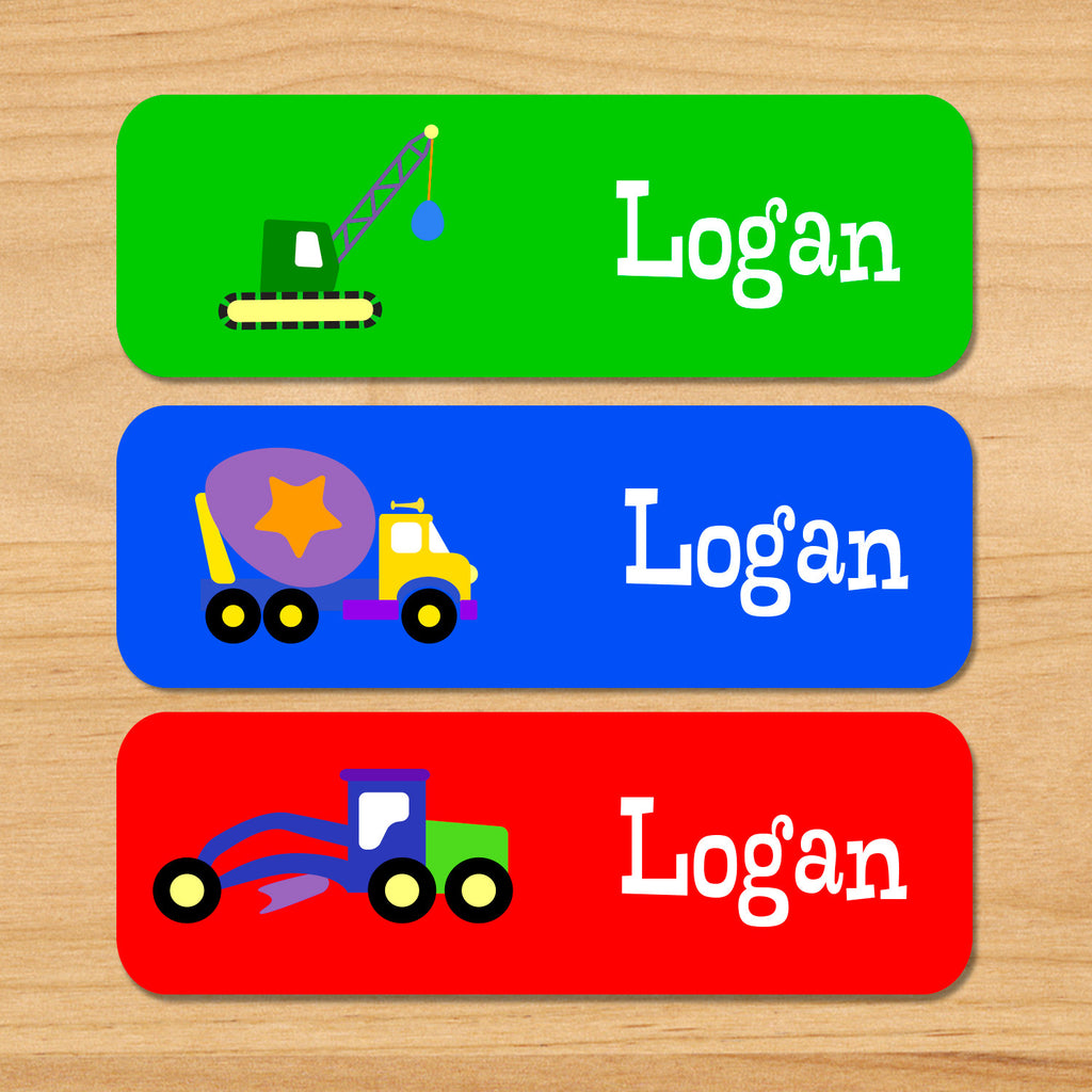 Under construction personalized kids waterproof name labels with crane, cement truck, and digger on green, blue and red background