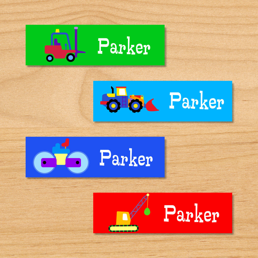 Under construction personalized kids mini waterproof name labels with forklift, loader, bulldozer, and wrecker on green, blue and red background