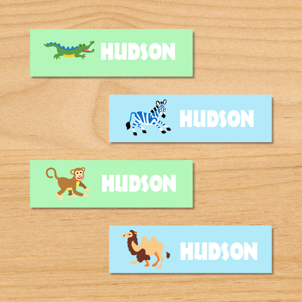 Wild animals safari kids personalized waterproof mini labels with alligator, zebra, monkey, and camel on blue and green backgrounds