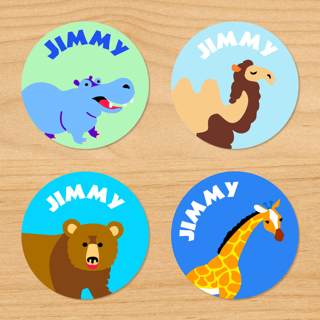 Wild animals safari kids personalized waterproof round labels with camel, hippo, bear, and giraffe on blue and green backgrounds