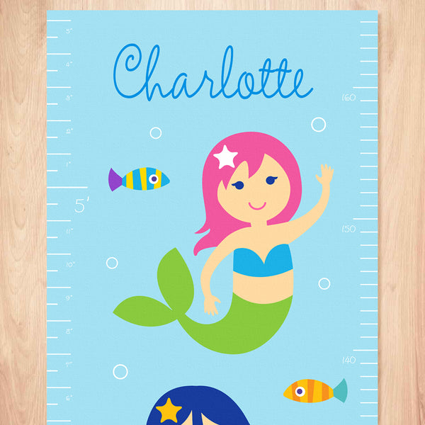 Growth chart close up of pink haired mermaid with green tail on blue background and personalized name at top