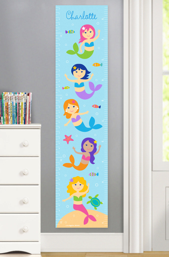 Mermaids and little fish on canvas growth chart with personalized name at top