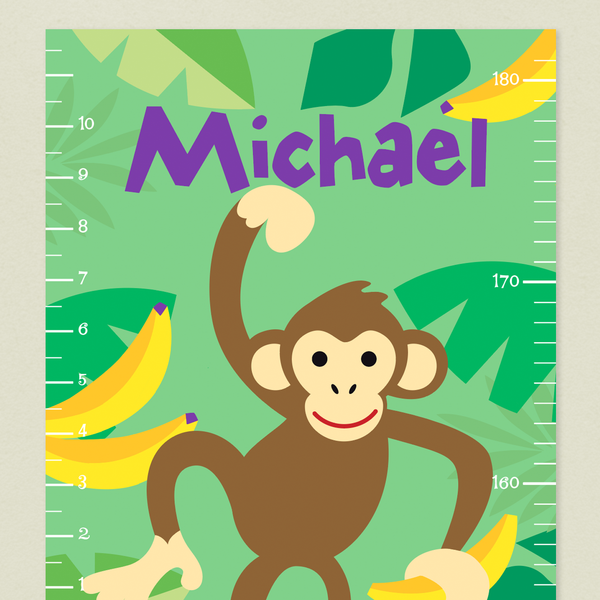 Close up of Monkey Growth Chart with brown monkey and yellow bananas ib a green banana leaf background. Childs name art top in purple letters.