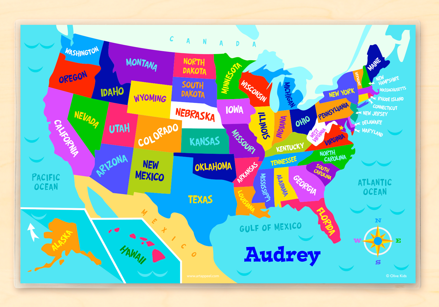 USA Map Personalized Kids Placemat - Art Apl Map O The Usa on map of spain, map of china, map of asia, map of europe, map of africa, map of south america, map of japan, map of italy, map of england, map of france, united states maps usa, map od the sua, map of germany,