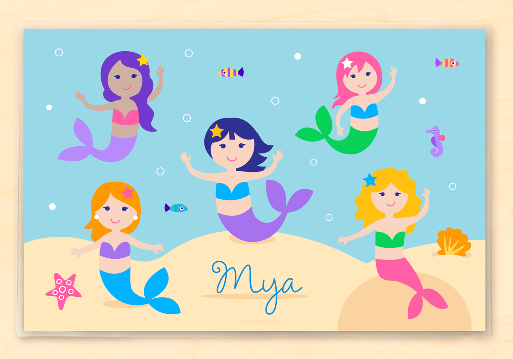 Personalized Kids Placemat with mermaids, fish, and sea creatures in an underwater scene