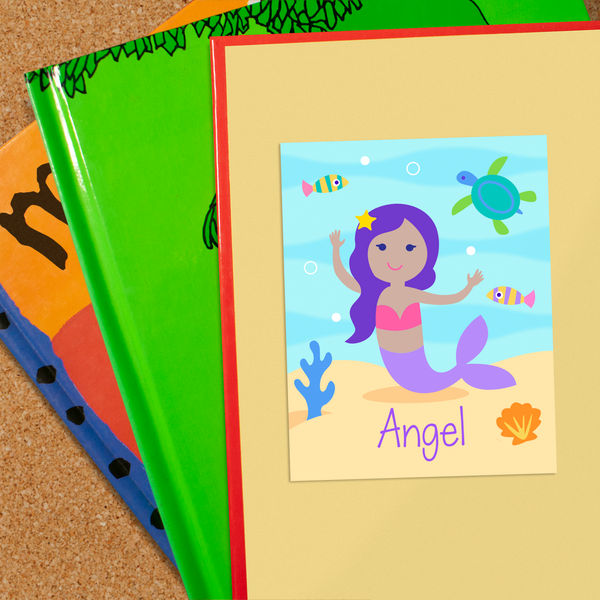 Mermaids Dark Skin Personalized Bookplates