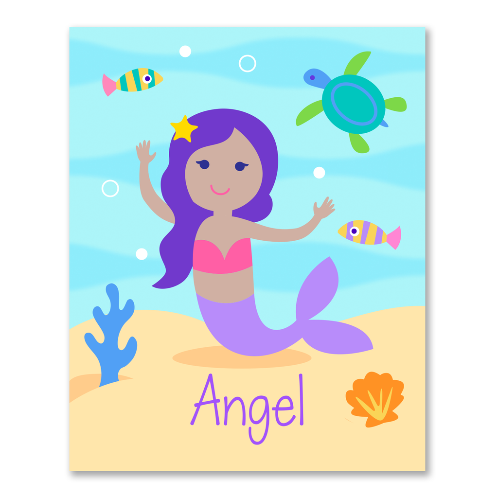 Mermaids Dark Complexion Personalized Bookplates