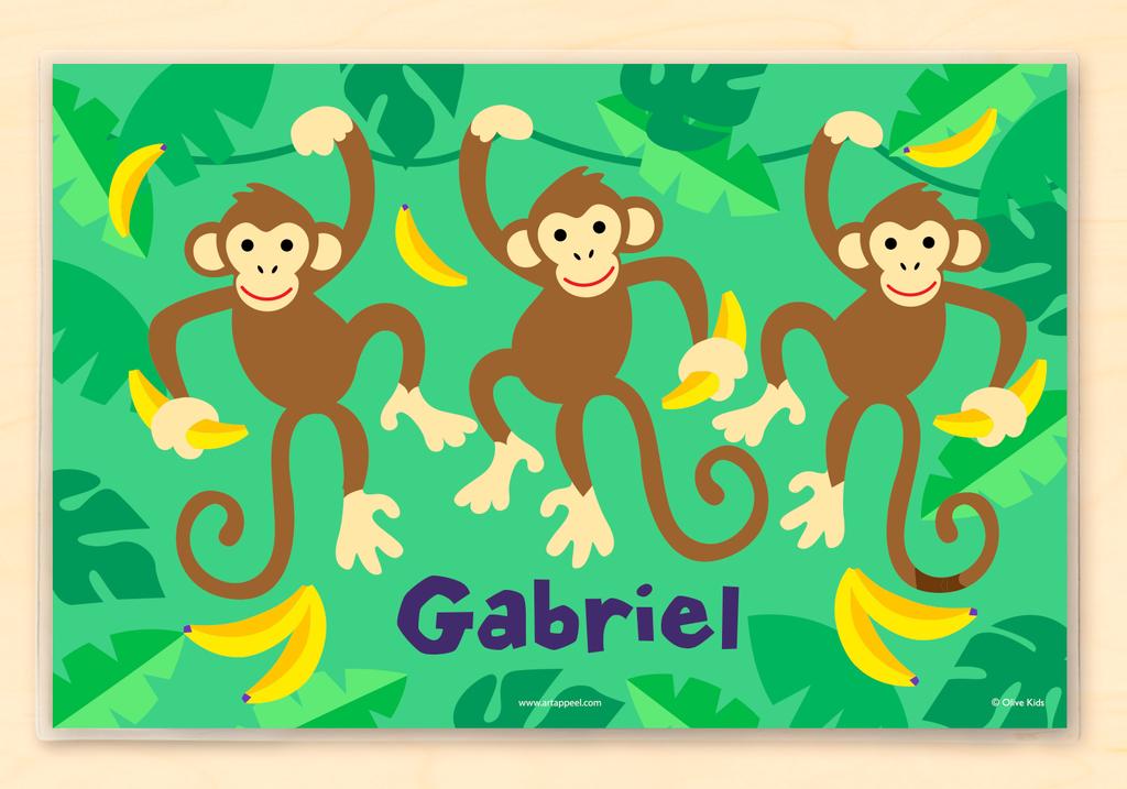 Monkey themed Personalized Kids Placemat with swinging monkeys on a green jungle background