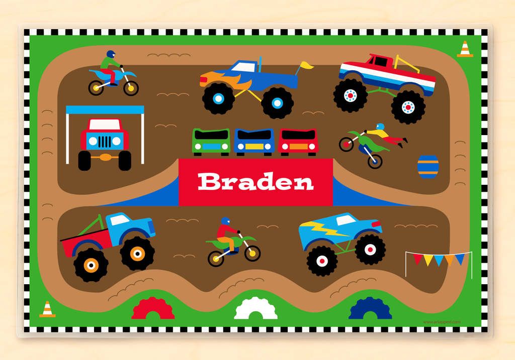 Kids Personalized Monster Truck Placemat with colorful monster trucks, motorcycles, and your child's name