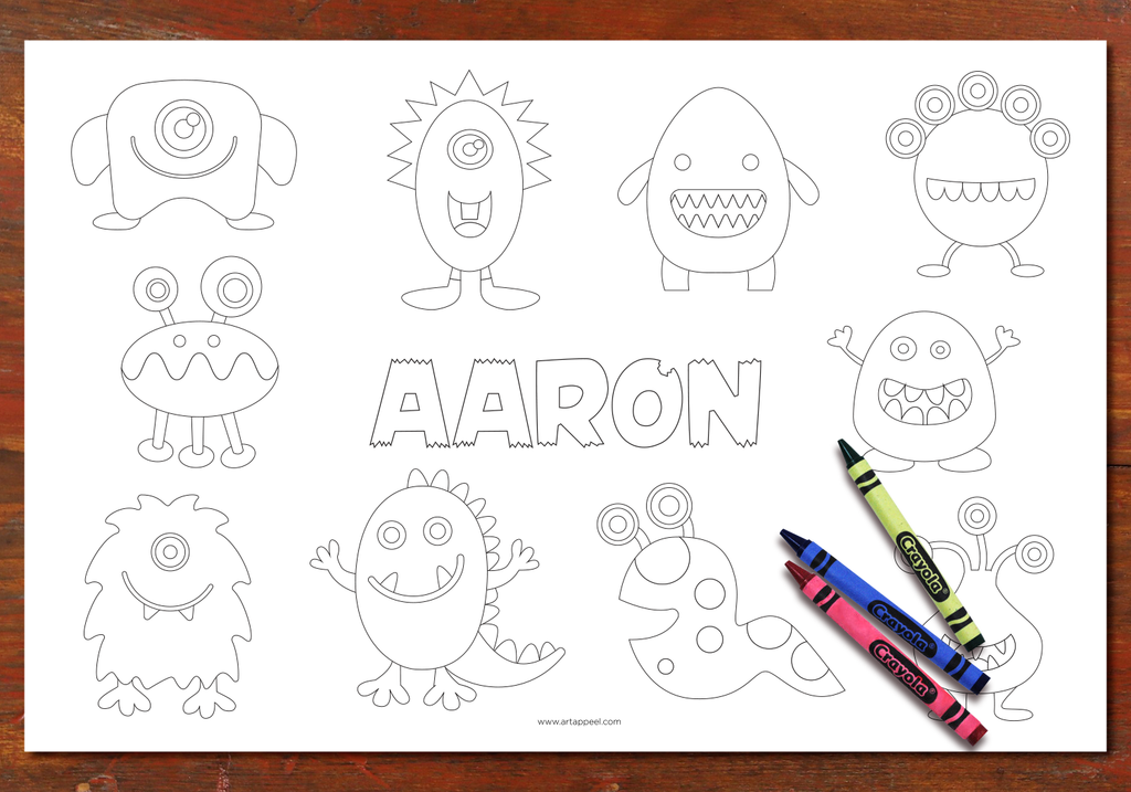 Personalized Coloring Pages Placemat Boys Set – Art Appeel