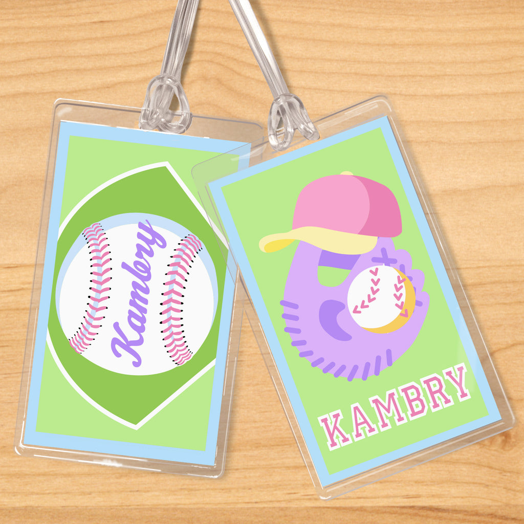 Softball Personalized Kids Name Tag Set by Olive Kids