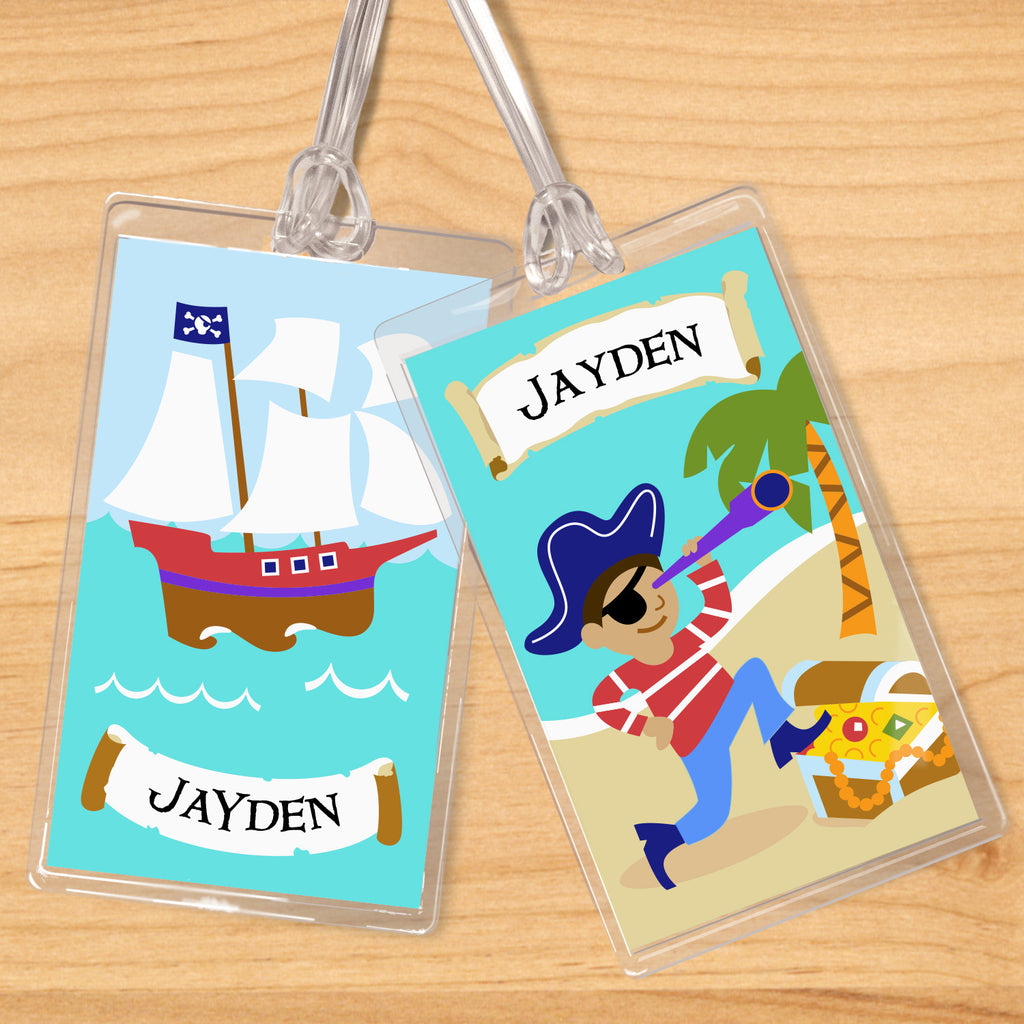 Pirates (Dark Skin) Personalized Kids Name Tag Set by Olive Kids