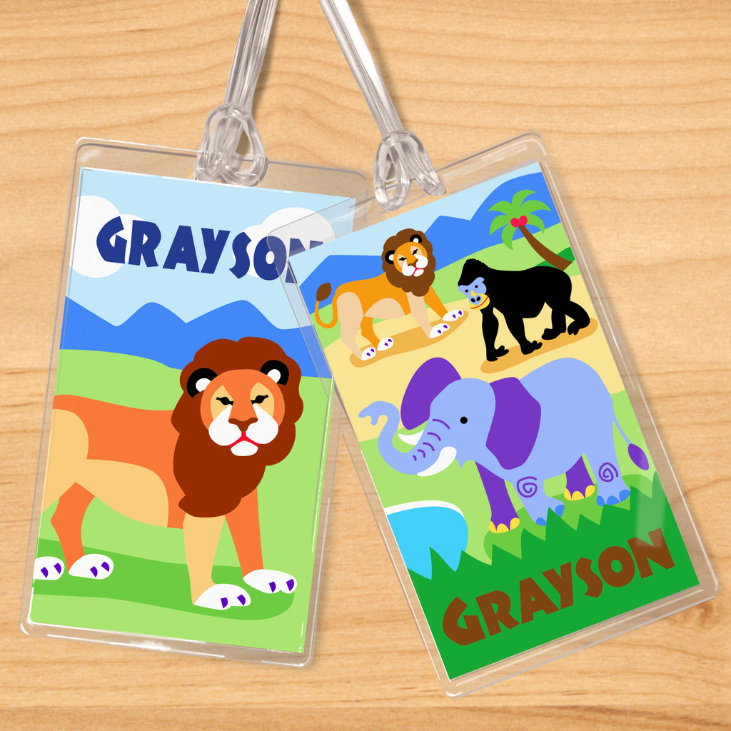 Wild Animals Personalized Kids Name Tag Set by Olive Kids