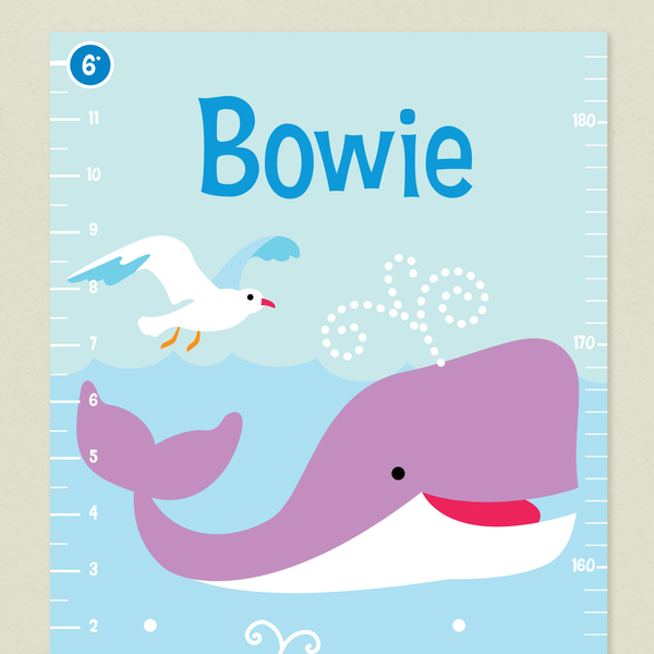 Closeup of Ocean Growth Chart with Purple whale and white seagull on a light blue background. Childs name at top in blue.