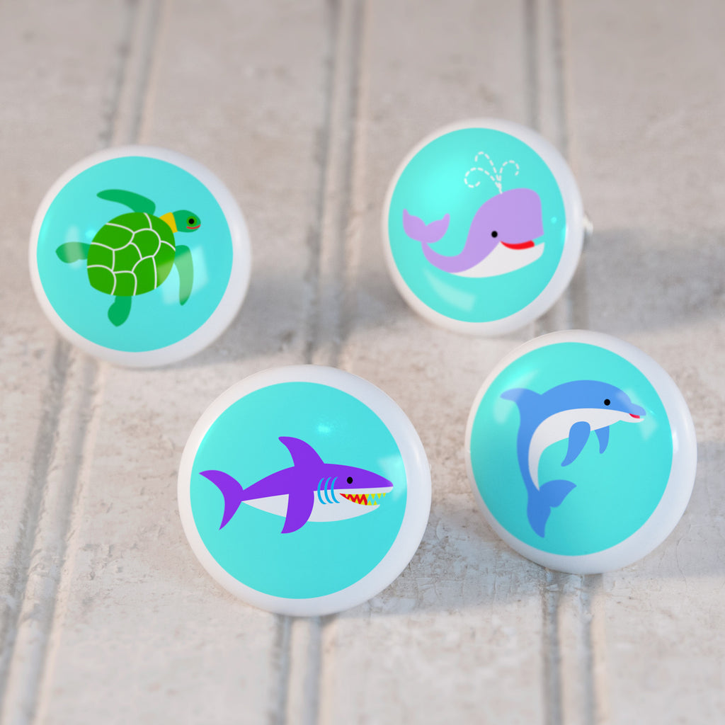 Ocean Set of 4 Small Ceramic Kids Drawer Knobs by Olive Kids from Art Appeel
