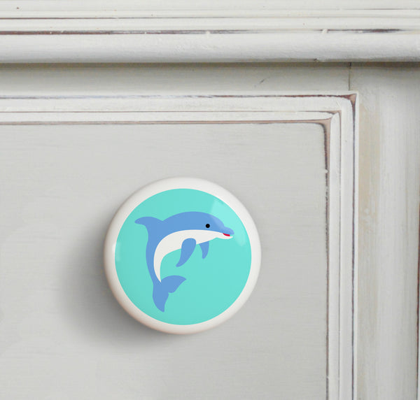 Dolphin - Ocean Small Ceramics Kids Drawer Knob by Olive Kids from Art Appeel