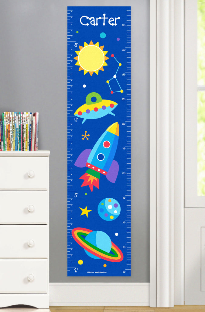 Out of This World Rocket Personalized Kids Canvas Growth Chart