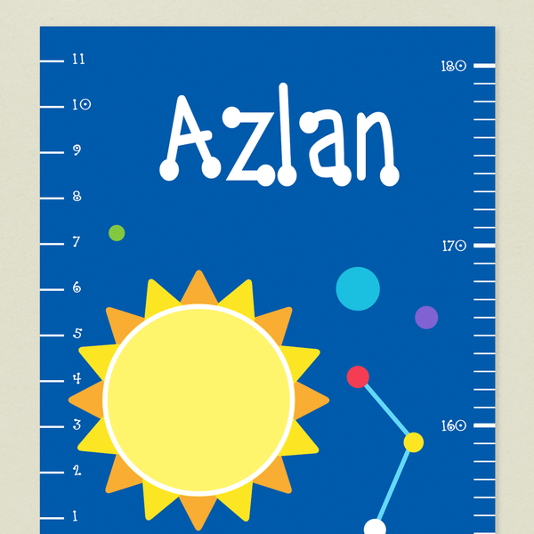 Closeup of Outer Space Growth Chart with yellow sun and colorful constellation on a deep blue background. Child's name at the top in white.