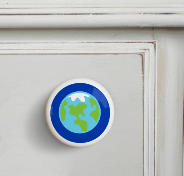 Earth - Out of This World Small Ceramics Kids Drawer Knob by Olive Kids from Art Appeel