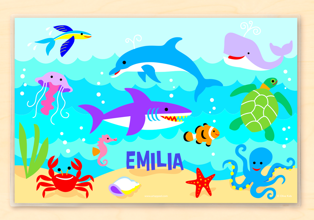 Ocean Personalized Kids Placemat with underwater scene of dolphins, sharks, sea turtles and other sea creatures