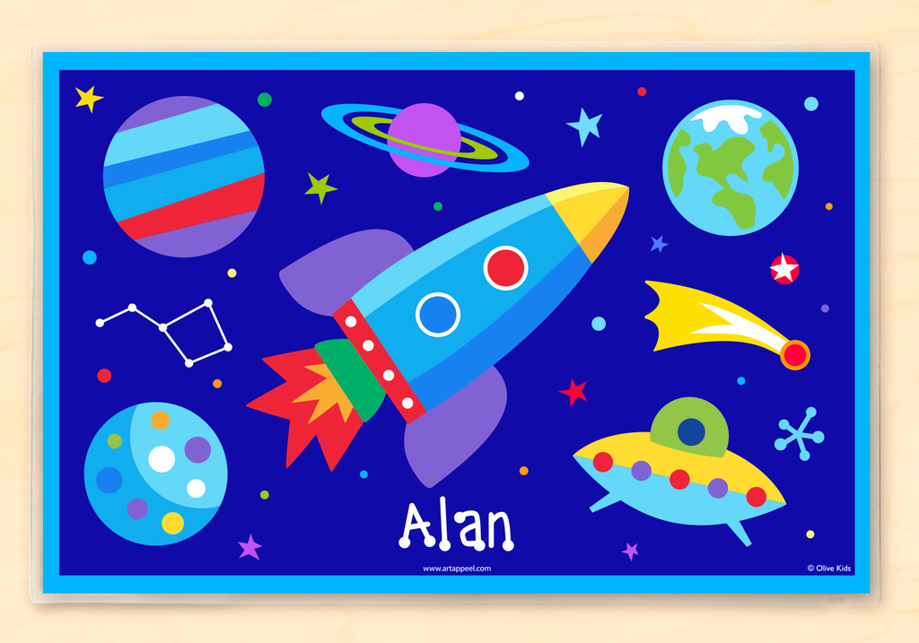Space themed Personalized Kids Placemat with rocketship, planets, stars and constellations on a deep blue background