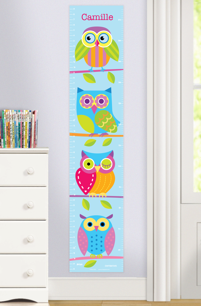 Owls Growth Chart with colorful owls on a light blue background. Persoalized with child's name at the top. Photographed in room scene.