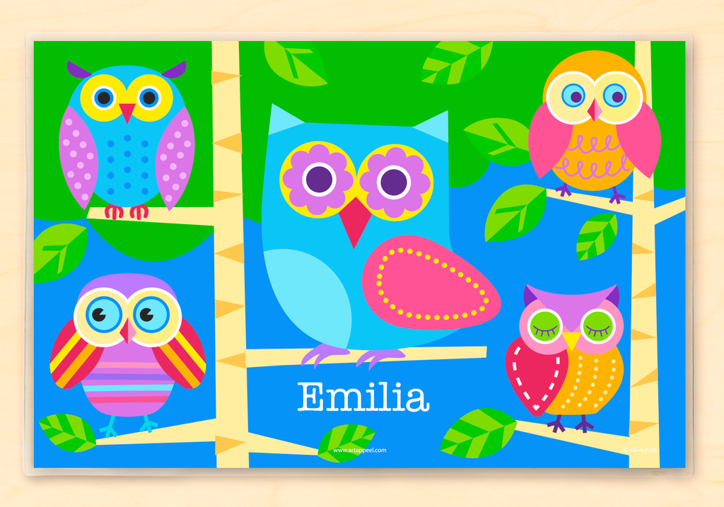 Personalized Kids Placemat with colorful owls on a blue and green background