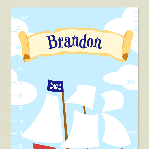 Closeup of Pirates Growth Chart with Pirate ship and clouds on a sky blue background. Personalized with child's name on a parchment banner in the sky.