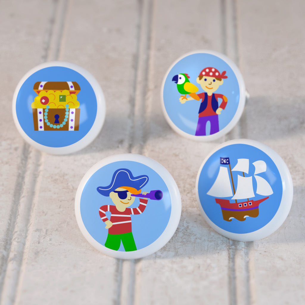 Pirates Set of 4 Small Ceramic Kids Drawer Knobs by Olive Kids from Art Appeel