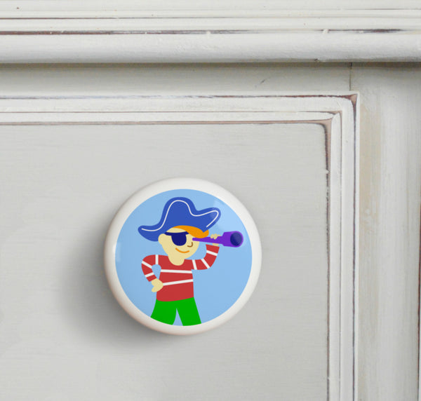Captain - Pirates Small Ceramics Kids Drawer Knob by Olive Kids from Art Appeel
