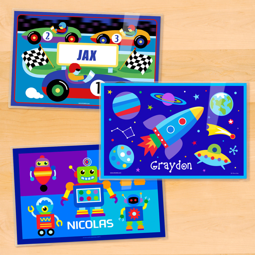 Boy Personalized Kids Placemat Set of 3 by Olive Kids