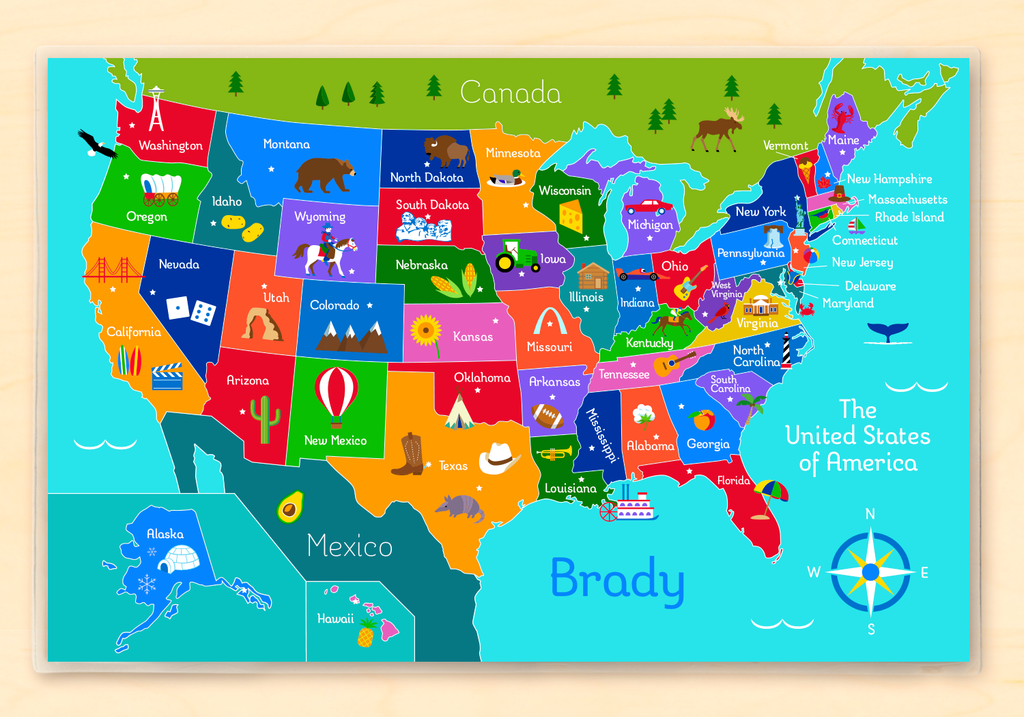 Kids Personalized Educational United States Map Placemat For Homeschooling and Learning The States